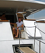 """**EXCLUSIVE**.Chris Paciello relaxing aboard a Yacht ironically named """"No Name"""" in St. Tropez, France..Friday, August 03, 2007.Photo By Celebrityvibe.com.To license this image please call (212) 410 5354; or.Email: celebrityvibe@gmail.com ;."""