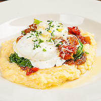 Eggs Tuscan Style<br /> 2 poached eggs, creamy polenta, vegetable ratatouille, spicy greens &amp; olive oil. Jimmy J's Cafe, 115 Chartres St. New Orleans, LA 70130.