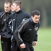 St Johnstone training...14.12.04<br />David Hannah ready for the word to start sprinting<br /><br />Picture by Graeme Hart.<br />Copyright Perthshire Picture Agency<br />Tel: 01738 623350  Mobile: 07990 594431