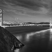 Golden Gate Bridge - Marin Headlands - Dusk Long Exposure - Black & White