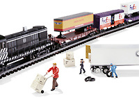 FedEx toy trains on white background