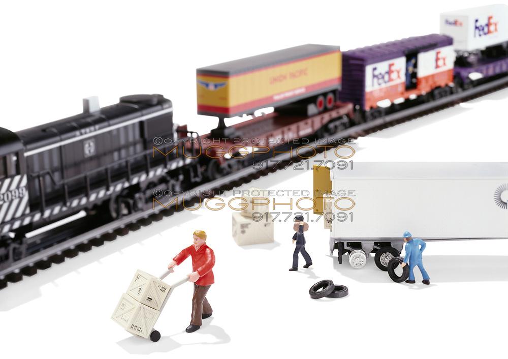FedEx toy trains on white background