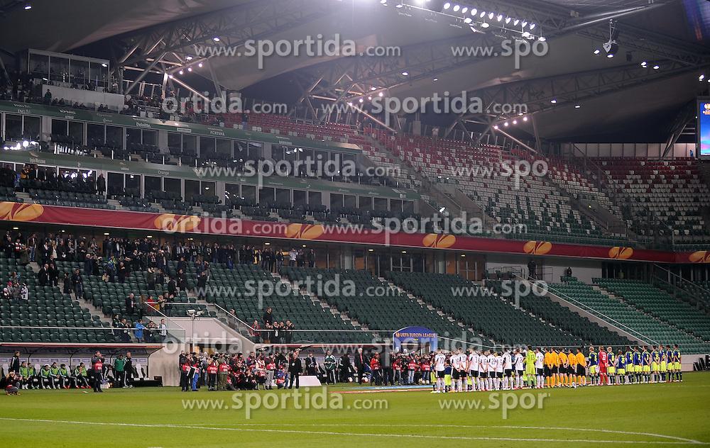 26.02.2015, Pepsi Arena, Warschau, POL, UEFA EL, Legia Warschau vs Ajax Amsterdam, 1. Runde, R&uuml;ckspiel, im Bild PREZENTACJA DRUZYN PUSTY STADION MECZ BEZ KIBICOW // during the UEFA Europa League 1st Round, 2nd Leg match between Legia Warschau and Ajax Amsterdam at the Pepsi Arena in Warschau, Poland on 2015/02/26. EXPA Pictures &copy; 2015, PhotoCredit: EXPA/ Newspix/ LUKASZ LASKOWSKI<br /> <br /> *****ATTENTION - for AUT, SLO, CRO, SRB, BIH, MAZ, TUR, SUI, SWE only*****