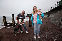 UK ENGLAND DEVON TEIGNMOUTH 10SEP16 - Retiree Ray Jones (67) and his wife Sue Jones (56), a social worker, of Bridgewater walk their dogs Millie (8) and Bella (3) at Teignmouth beach, Devon, England.<br /> <br /> jre/Photo by Jiri Rezac<br /> <br /> © Jiri Rezac 2016