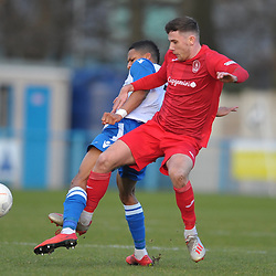 TELFORD COPYRIGHT MIKE SHERIDAN Arlen Birch of Telford  during the Vanarama Conference North fixture between Guiseley and AFC Telford United at Nethermoor Park on Saturday, February 8, 2020.<br /> <br /> Picture credit: Mike Sheridan/Ultrapress<br /> <br /> MS201920-046