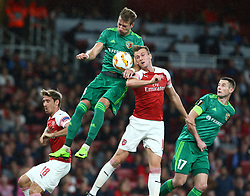 September 20, 2018 - London, England, United Kingdom - L-R Arsenal's Nacho Monreal, Volodymyr Chesnakov of FC and Vorskla Poltava  and Arsenal's Rob Holding.during UAFA Europa League Group E between Arsenal and FC Vorskla Poltava at Emirates stadium , London, England on 20 Sept 2018. (Credit Image: © Action Foto Sport/NurPhoto/ZUMA Press)