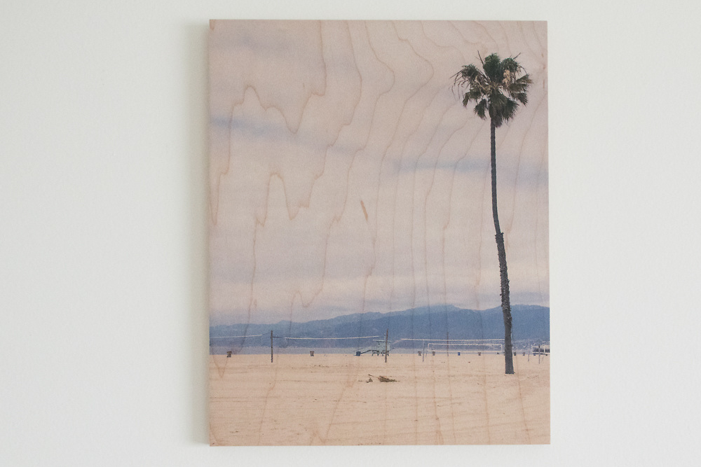 'April at the Santa Monica Beach' Printed on Maple Wood.