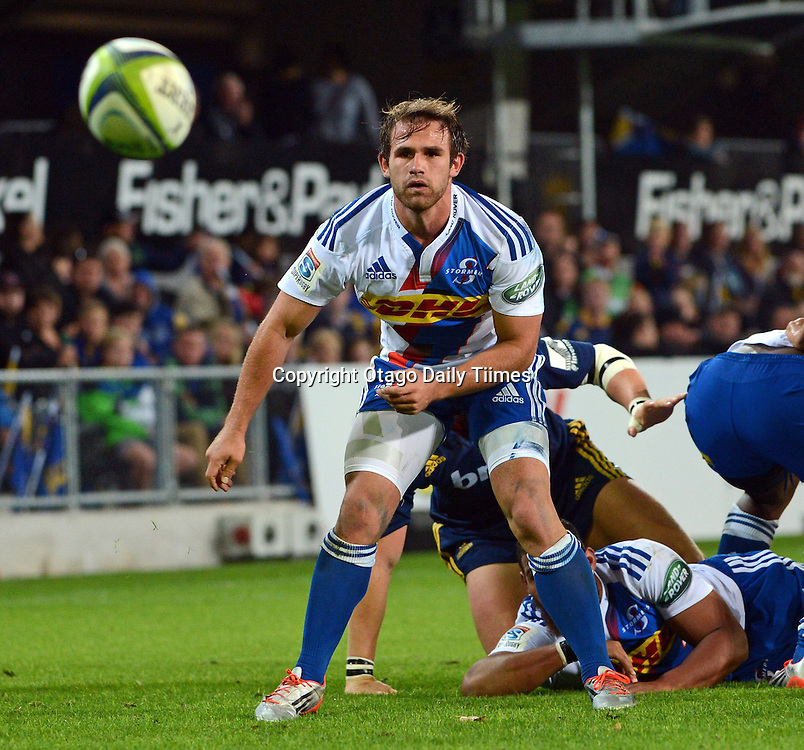 Stormers Nicholas Groom passing the ball during the Super 15 Rugby match between Highlanders and the Stormers at the Forsyth Barr Stadium, Dunedin, New Zealand on Saturday night.PHOTO PETER MCINTOSH (OTAGO DAILY TIMES).