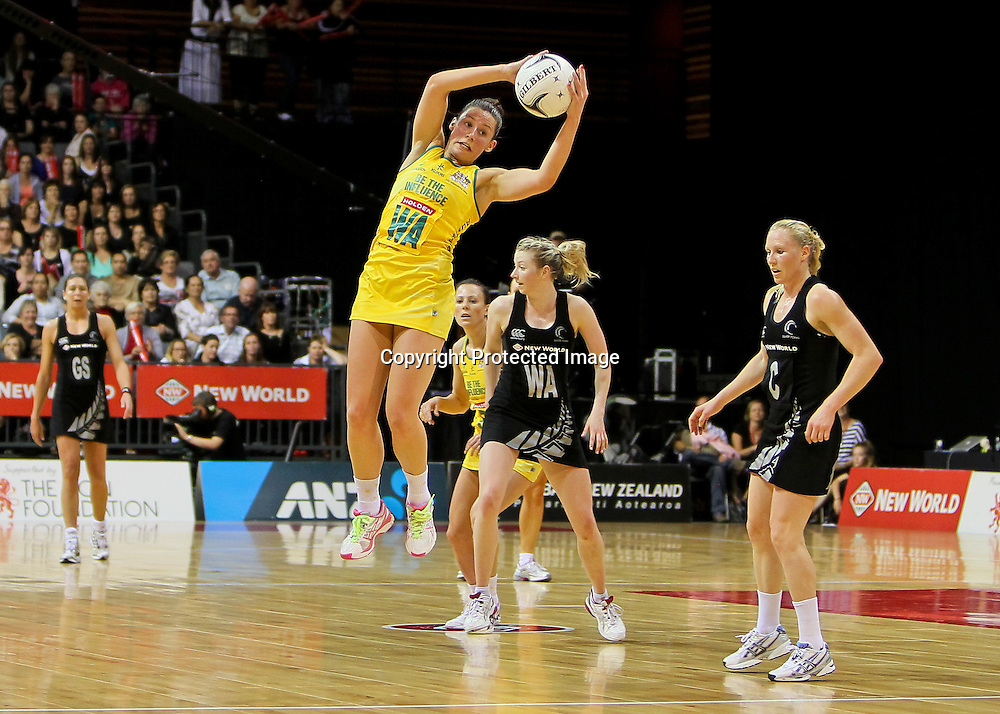 Australia's Madison Browne takes a pass during the New World Quad Series - Silver Ferns v Australian Diamonds, 1 November 2012.  Photo:  Bruce Lim / www.photosport.co.nz