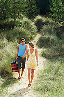 Couple Walking on Trail to Beach high angle view