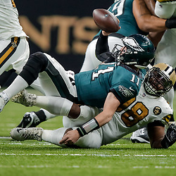 Nov 18, 2018; New Orleans, LA, USA; New Orleans Saints defensive tackle Sheldon Rankins (98) sacks Philadelphia Eagles quarterback Carson Wentz (11) during the second quarter at the Mercedes-Benz Superdome. Mandatory Credit: Derick E. Hingle-USA TODAY Sports