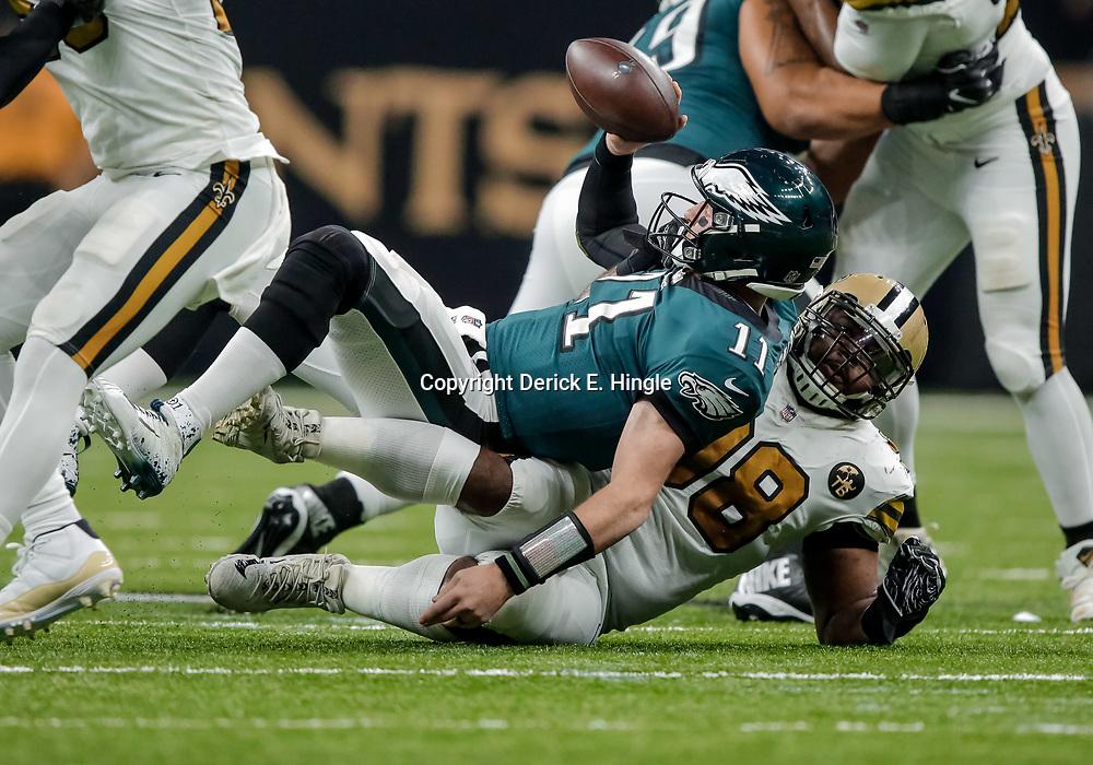 Nov 18, 2018; New Orleans, LA, USA; New Orleans Saints defensive tackle Sheldon Rankins (98) sacks Philadelphia Eagles quarterback Carson Wentz (11) during the second quarter at the Mercedes-Benz Superdome. Mandatory Credit: Derick E. Hingle-USA TODAY Sports