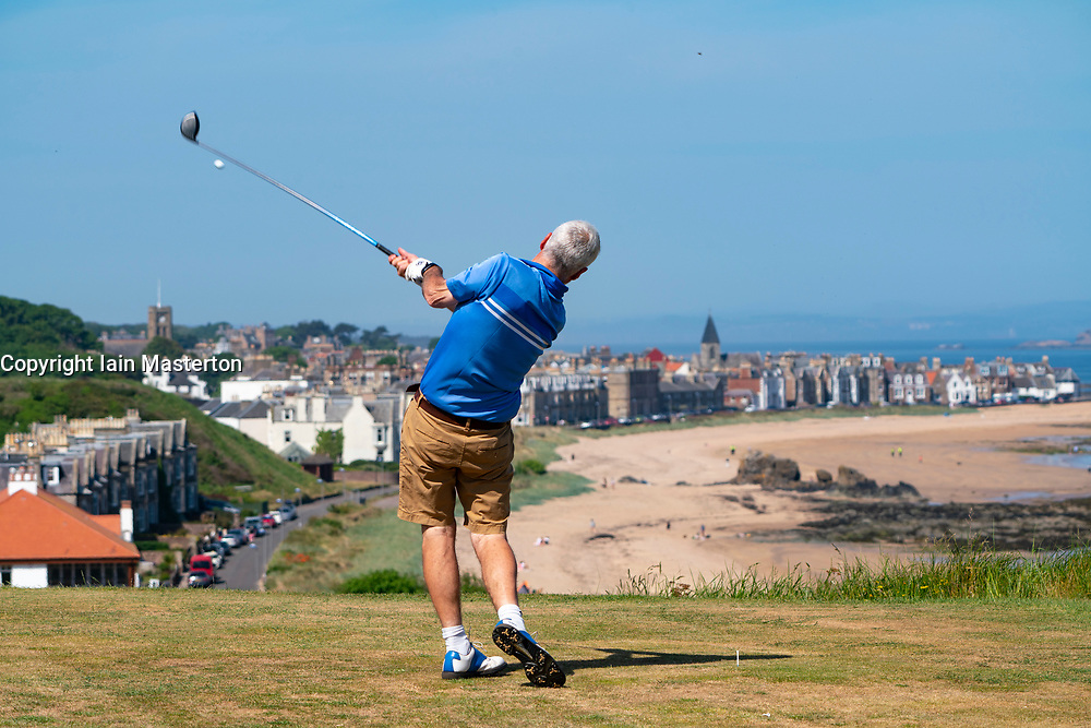 North Berwick, Scotland, UK. 29 May 2020. Golfers playing at Glen Golf Club in North Berwick. Hot sunny weather and a relaxation of covid-19 lockdown rules in Scotland means golf can now be played. Numbers of players are limited to two per game. Iain Masterton/Alamy Live News
