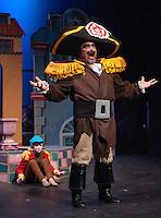 "The Monkey (Laryssa Humphrey) and Brundibar (Jim Rogato) during dress rehearsal for the Winnipesaukke Playhouse production of ""The Brundibar Project"" Tuesday evening.  (Karen Bobotas/for the Laconia Daily Sun)"