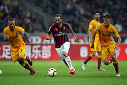 August 31, 2018 - Milan, Milan, Italy - 31st August 2018, San Siro, Milan, Italy; Serie A football, AC Milan versus Roma; Daniele De Rossi and Patrik Schick of Roma challenge Gonzalo Higuain of Milan  Credit: Giampiero Sposito/Pacific Press (Credit Image: © Giampiero Sposito/Pacific Press via ZUMA Wire)