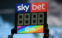 A general view of a Rainbow Laces campaign substitution board during the match between Coventry City and Peterborough United at the Ricoh Arena