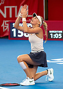 HONG KONG,HONG KONG SAR,CHINA: OCTOBER 14,2018.Ukranian teenager Dayana Yastremska (pictured) wins her match against China's No1 Wang Qiang in the finals of the 2018 Prudential Hong Kong Tennis Open WTA International tennis tournament Victoria Park Hong Kong.Jayne Russell/ Alamy Live News