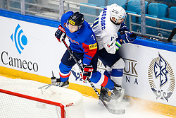 Sang Jin Park of South Korea and Aleksandar Magovac of Slovenia during ice hockey match between South Korea and Slovenia at IIHF World Championship DIV. I Group A Kazakhstan 2019, on April 30, 2019 in Barys Arena, Nur-Sultan, Kazakhstan. Photo by Matic Klansek Velej / Sportida