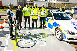 Pictured: PC Peter Sparrow, Inspector Vinnie Fisher, PC Dominic Doyle and Chief Superintendent Andy Edmonston<br /> <br /> A new policing initiative to promote cycle safety was launched in Edinburgh today. The operation saw drivers pulled over for passing too close to an unmarked police cyclist or any other vehicle.<br /> Ger Harley | EEm 24 April 2017