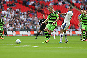 Forest Green Rovers Mark Ellis(5) passes the ball back to Forest Green Rovers goalkeeper Sam Russell(23) during the Vanarama National League Play Off Final match between Tranmere Rovers and Forest Green Rovers at Wembley Stadium, London, England on 14 May 2017. Photo by Shane Healey.
