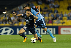 October 7, 2017 - Melbourne, Victoria, Australia - Rhys Williams (#4) of Melbourne Victory is brought down by Alex Brosque (#14) of Sydney FC during the round 1 match between Melbourne Victory and Sydney FC at Etihad Stadium in Melbourne, Australia during the 2017/2018 Australian A-League season. (Credit Image: © Theo Karanikos via ZUMA Wire)