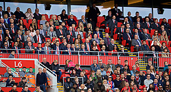 LIVERPOOL, ENGLAND - Sunday, May 21, 2017: The Director's Box during the FA Premier League match between Liverpool and Middlesbrough at Anfield. Ian Rush, Terry Smith, non-executive director Kenny Dalglish, Commercial Director Billy Hogan, Director of Communications Susan Black, chief executive officer Peter Moore, co-owner and NESV Chairman Tom Werner, Director Michael Gordon, Linda Pizzuti, owner John W. Henry, Under-18 head coach Steven Gerrard, Gareth Southgate, Doug Livermore, player liaison officer Ray Haughan, Adam Bogdan, captain Jordan Henderson, Harry Wilson. (Pic by David Rawcliffe/Propaganda)