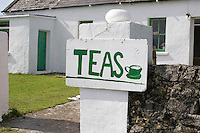 Teas handpainted sign for cafe on Inis Oirr Island the Aran Islands County Galway Ireland