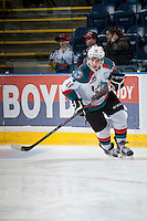 KELOWNA, CANADA - MARCH 7: Nick Merkley #10 of the Kelowna Rockets warms up against the Spokane Chiefs on March 7, 2015 at Prospera Place in Kelowna, British Columbia, Canada.  (Photo by Marissa Baecker/Shoot the Breeze)  *** Local Caption *** Nick Merkley;
