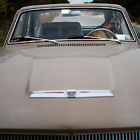 A german shepherd dog looks out the drivers seat of his owners classic car waiting almost nervously for his return.