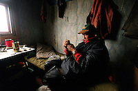 039078.AA.0820.warming29.kc--Bering Sea, Off Providenya, Russia--A charge is loaded in the tip of a harpoon. The story deals with the enviromental issue of global warming throughout the region of Russia directly across the Bering Sea from Nome, Alaska. The story touches on the people their way of living, the rough economy and the extent they are effected by the slowly warming temperature as documented by scientists.  More Details To Come.
