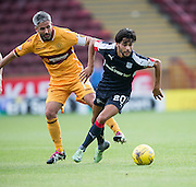 Dundee's Faissal El Bakhtaoui foes past Motherwell's Keith Lasley - Motherwell v Dundee in the Ladbrokes Scottish Premiership at Fir Park, Motherwell. Photo: David Young<br /> <br />  - © David Young - www.davidyoungphoto.co.uk - email: davidyoungphoto@gmail.com