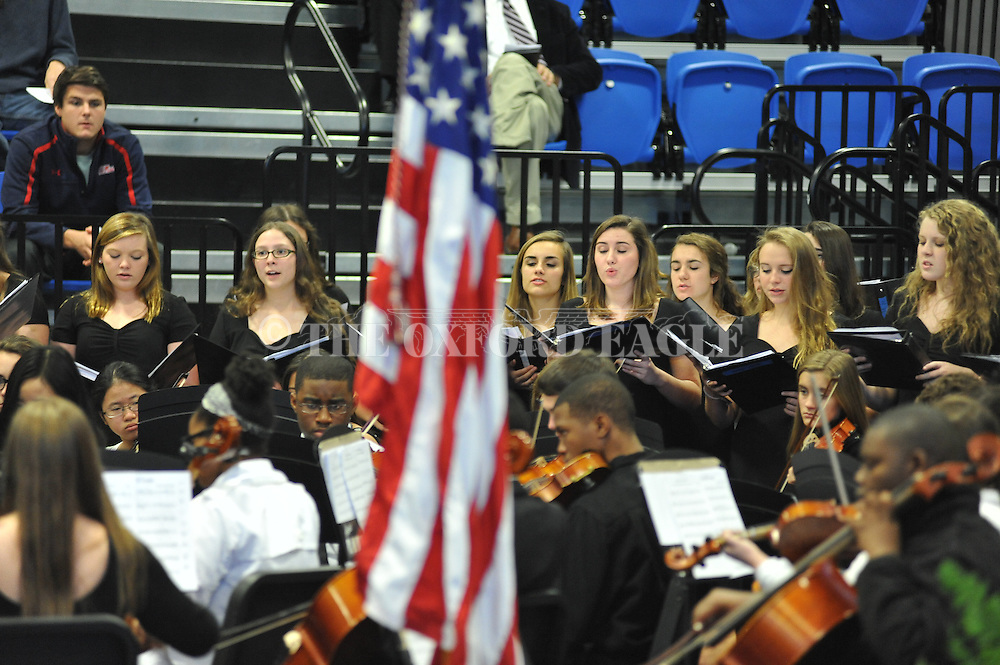 The Oxford High Orchestra and Concert Choir perform during a Naturalization Ceremony in U.S. District Court for the Northern District of Mississippi, at Oxford High School in Oxford, Miss. on Tuesday, November 18, 2014. The ceremony was the first the court has ever held at the school.