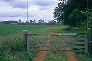 A08ANA Sign saying No Public Footpath on field gate