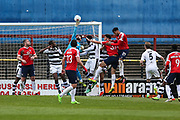 Forest Green Rovers goalkeeper Sam Russell(23) makes a save during the Vanarama National League match between York City and Forest Green Rovers at Bootham Crescent, York, England on 29 April 2017. Photo by Shane Healey.
