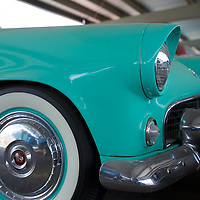 Font end of a mint '55 Ford Thunderbird in that swimming pool aquamarine...a gorgeous car.