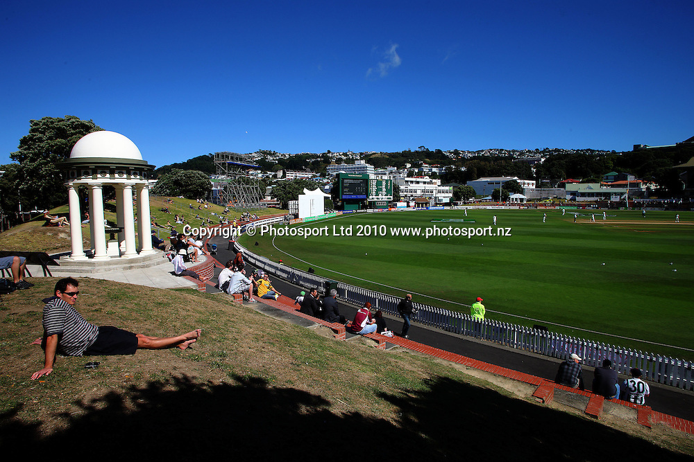 A general view of the Basin Reserve.<br /> 1st cricket test match - New Zealand Black Caps v Australia, day five at the Basin Reserve, Wellington. Tuesday, 23 March 2010. Photo: Dave Lintott/PHOTOSPORT