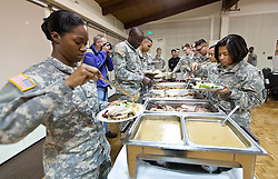 Thanksgiving dinner for soldiers of JBLM held in Chris Knutzen hall of the Anderson University center on Wednesday, Nov. 26, 2014. (Photo/John Froschauer)