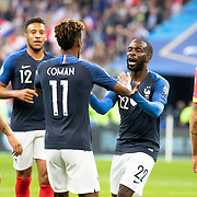 PARIS, FRANCE - September 10:   Kingsley Coman #11 of France is congratulated by Jonathan Ikone #22 of France after scoring his sides first goal during the France V Andorra, UEFA European Championship 2020 Qualifying match at Stade de France on September 10th 2019 in Paris, France (Photo by Tim Clayton/Corbis via Getty Images)