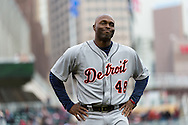 Torii Hunter #48 of the Detroit Tigers reacts after being called out at 3rd base during a game against the Minnesota Twins on April 3, 2013 at Target Field in Minneapolis, Minnesota.  The Twins defeated the Tigers 3 to 2.  Photo: Ben Krause