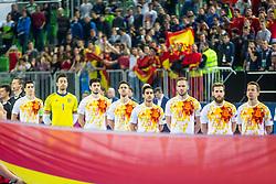 Spain players during futsal match between Kazakhstan and Spain in Semifinals of UEFA Futsal EURO 2018, on February 8, 2018 in Arena Stozice, Ljubljana, Slovenia. Photo by Ziga Zupan / Sportida