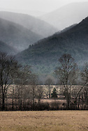 Mist clings to the mountains surrounding Cades Cove, Great Smoky Mountains National Park