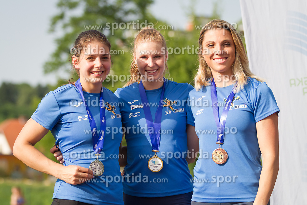 Alja Sitar, Maja Mihalinec and Maja Ciric at medal ceremony during day 1 of Slovenian Athletics Cup 2019, on June 15, 2019 in Celje, Slovenia. Photo by Peter Kastelic / Sportida