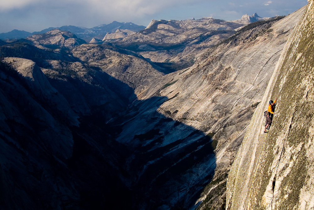 Madaleine Sorkin<br /> sending the final slab pitch, 5.12, on a free ascent of Half Dome, Yosemite, CA