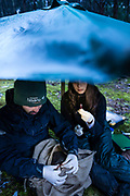 Samples are taken on location no matter the conditions, portable shelters make working in the cold and wet Tasmanian weather a little more pleasant.