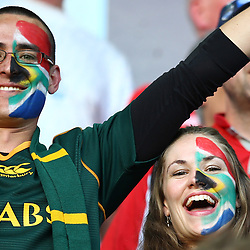 BIRMINGHAM, ENGLAND - SEPTEMBER 26: Fans enjoy the atmosphere ahead of the Rugby World Cup 2015 Pool B match between South Africa and Samoa at Villa Park on September 26, 2015 in Birmingham, England. (Photo by Steve Haag/Gallo Images)