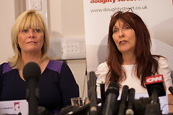 © licensed to London News Pictures. London, UK 16/10/2012. Janis Sharp(L) and Solicitor Karen Todner talking at a press conference at Doughty Street Chambers, London after British computer hacker Gary McKinnon wins his fight against extradition to the US, Home Secretary. Photo credit: Tolga Akmen/LNP