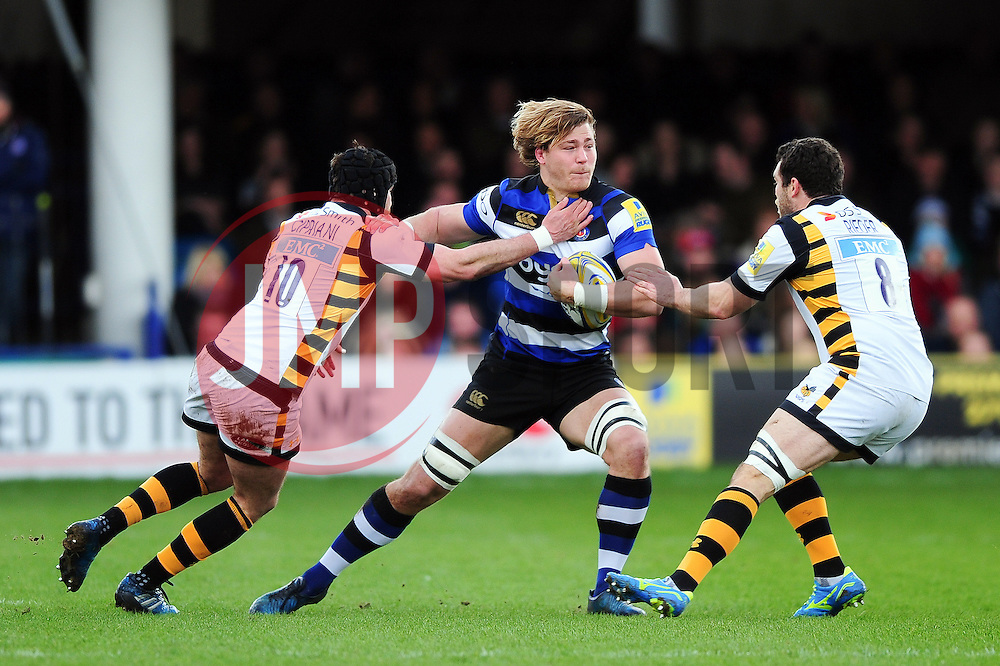 David Denton of Bath Rugby takes on the Wasps defence - Mandatory byline: Patrick Khachfe/JMP - 07966 386802 - 04/03/2017 - RUGBY UNION - The Recreation Ground - Bath, England - Bath Rugby v Wasps - Aviva Premiership.