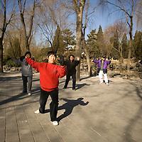 Practica de deporte y artes marciales en uno de los parques de Beijing, Marzo 2008, Beijing, China. Fotógrafo: Bernardo De Niz