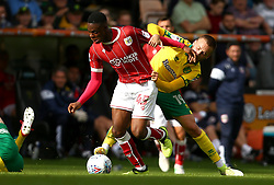 Jonathan Leko of Bristol City takes on Tom Trybull of Norwich City - Mandatory by-line: Robbie Stephenson/JMP - 23/09/2017 - FOOTBALL - Carrow Road - Norwich, England - Norwich City v Bristol City - Sky Bet Championship
