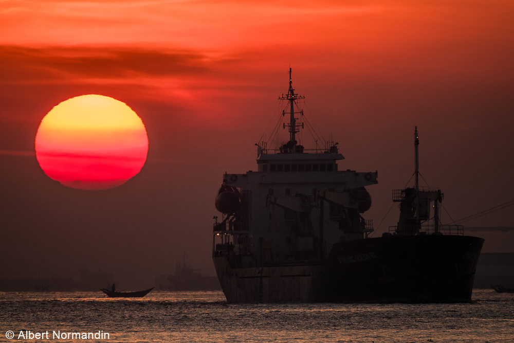 Port of Yangon at sunrise, Rangoon, Yangon, Myanmar